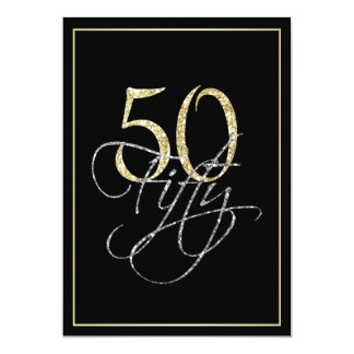 Formal Silver Black and Gold 50th Birthday Party Card