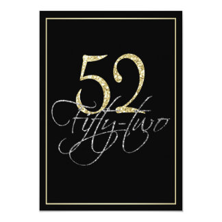 Formal Silver Black and Gold 52nd Birthday Party Card