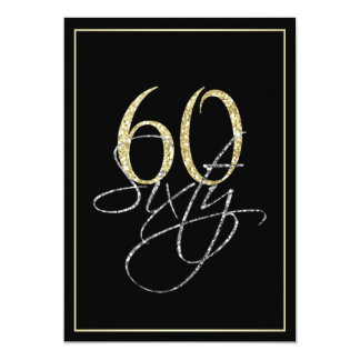 Formal Silver Black and Gold 60th Birthday Party Card