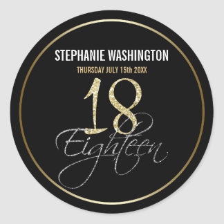 Formal Silver, Black & Gold 18th Birthday Party Classic Round Sticker