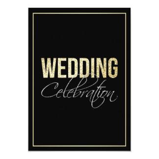 Formal Silver Black & Gold Wedding Card