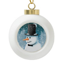 Formal Snowman Ceramic Ball Christmas Ornament