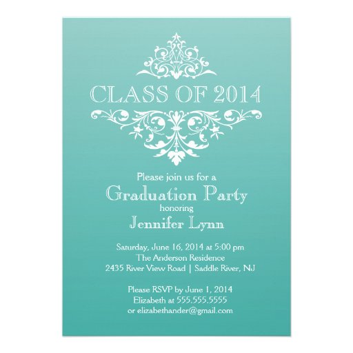 Formal Teal Elegant Flourish Graduation Party Announcement