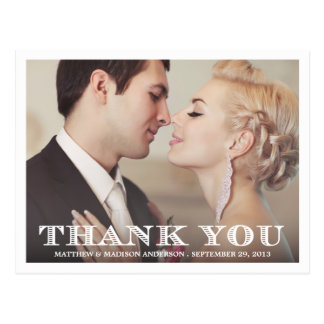 FORMAL THANK YOU   WEDDING THANK YOU POST CARD