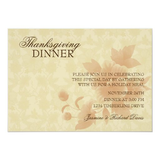 Formal Thanksgiving Dinner Invitation