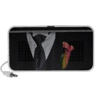 Formal tuxedo with calla lily laptop speaker