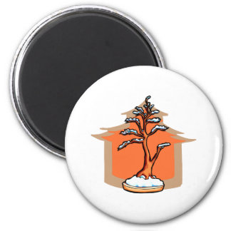 Formal Upright With House Snow Bonsai Graphic 2 Inch Round Magnet