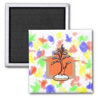 Formal Upright With House Snow Bonsai Graphic 2 Inch Square Magnet