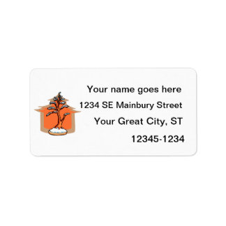 Formal Upright With House Snow Bonsai Graphic Address Label