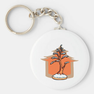 Formal Upright With House Snow Bonsai Graphic Basic Round Button Keychain