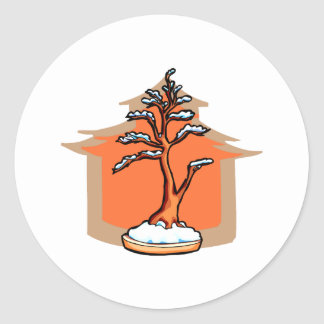 Formal Upright With House Snow Bonsai Graphic Classic Round Sticker