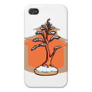 Formal Upright With House Snow Bonsai Graphic iPhone 4 Covers