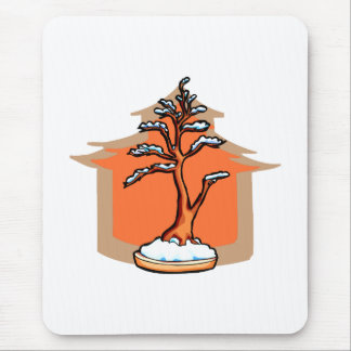 Formal Upright With House Snow Bonsai Graphic Mouse Pad