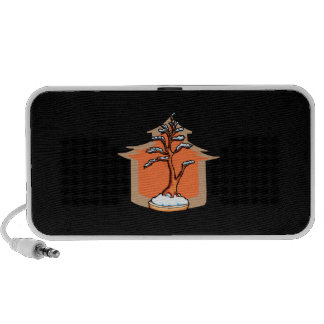 Formal Upright With House Snow Bonsai Graphic Mp3 Speakers