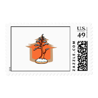 Formal Upright With House Snow Bonsai Graphic Postage Stamps