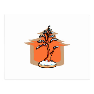 Formal Upright With House Snow Bonsai Graphic Postcard