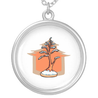 Formal Upright With House Snow Bonsai Graphic Round Pendant Necklace