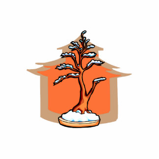 Formal Upright With House Snow Bonsai Graphic Standing Photo Sculpture