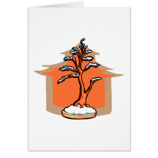 Formal Upright With House Snow Bonsai Graphic Stationery Note Card