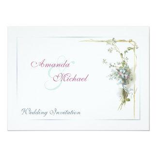 Formal vintage forget me nots wedding card