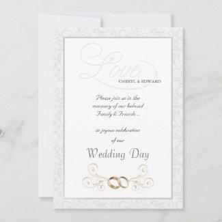 Formal Vintage White Wedding Invitations invitation