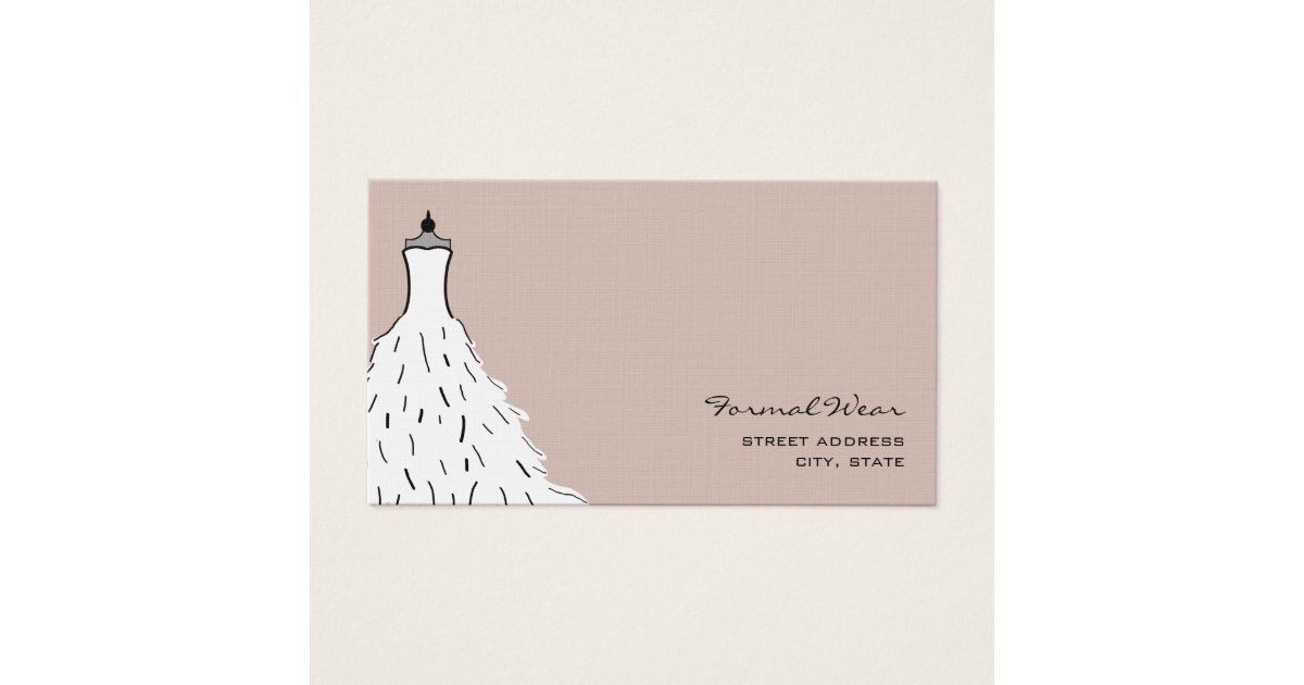 Formal Wear Boutique - Feathery Wedding Dress Business Card ...