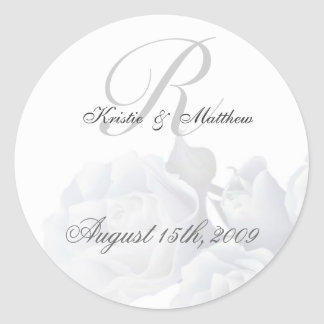 Formal Wedding - Romantic White Roses Classic Round Sticker