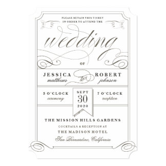 Formal Wedding Ticket Invitation