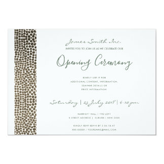 FORMAL WHITE  COPPER MOSAIC DOTS OPENING CEREMONY CARD