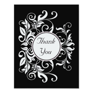 Formal White Damask Black Thank You Card