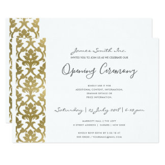 FORMAL WHITE  FAUX GOLD DAMASK OPENING CEREMONY CARD