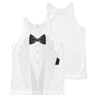 Formal White Mens' Tuxedo Suit All-Over-Print Tank Top