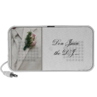 Formal white tuxedo with pink roses iPhone speaker