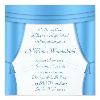 "Formal Winter Wonderland Snowflake Prom 5.25"" Square Invitation Card"