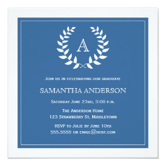 Formal Wreath Graduation Invitation - Blue