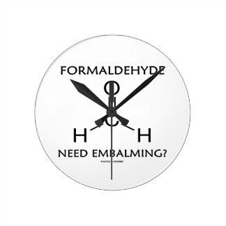Formaldehyde Need Embalming? (Chemistry Molecule) Round Clocks