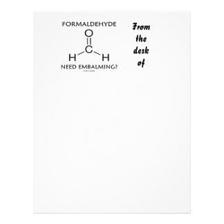 Formaldehyde Need Embalming? (Chemistry Molecule) Custom Letterhead