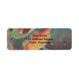 Formas abstractas coloridas en espacio etiqueta de remite