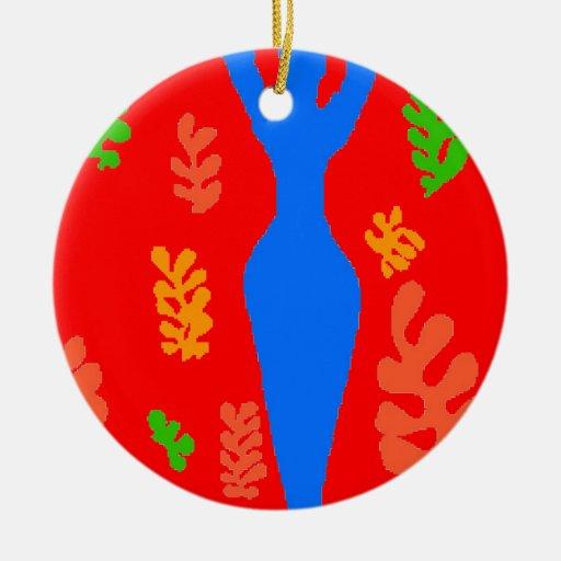 Formas abstractas del estilo de Matisse Adorno Navideño Redondo De Cerámica
