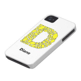 Formas amarillas del limón, monograma D iPhone 4 Case-Mate Cobertura