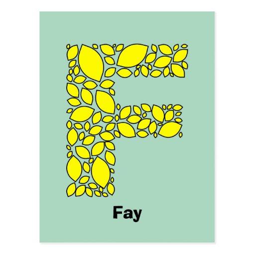 Formas amarillas del limón, monograma F Postales