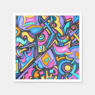 Formas caprichosas intrépidas coloridas servilleta desechable