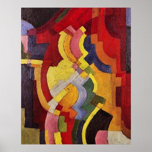 Formas coloreadas (iii) en agosto Macke Poster