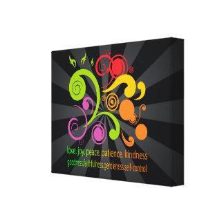 Formas coloridas, fruta del alcohol impresiones en lienzo estiradas