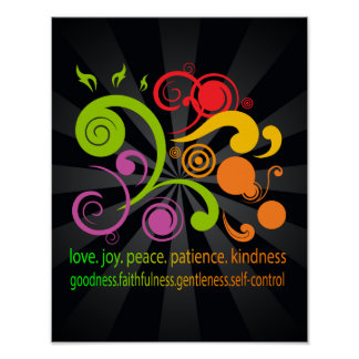 Formas coloridas, fruta del alcohol póster