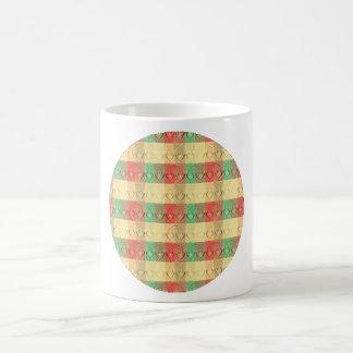 Formas cuadradas verdes rojas amarillas retras de  tazas de café