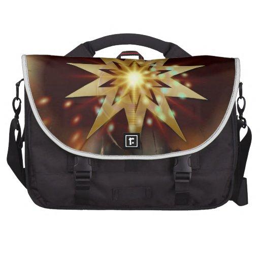 Formas de la estrella del oro con un fondo sucio bolsas para portatil