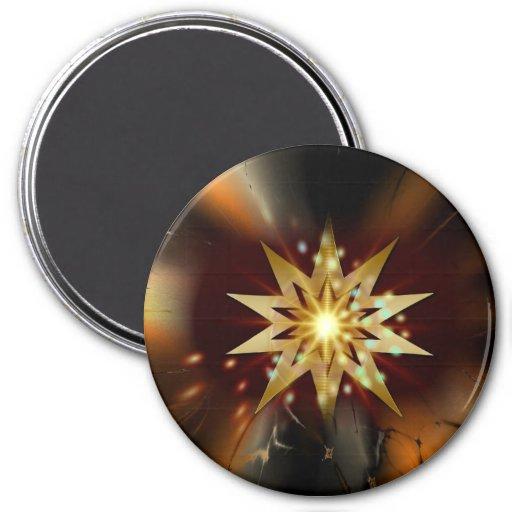 Formas de la estrella del oro con un fondo sucio imanes para frigoríficos