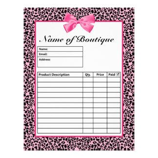 """Formas de orden rosadas y negras de moda de las ro folleto 8.5"""" x 11"""""""