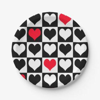 Formas del corazón platos de papel